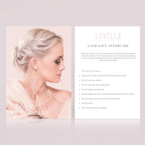Lash Lift Aftercare Card